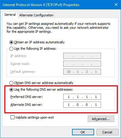 Enter DNS Server Address